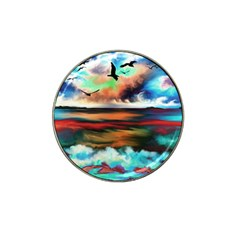 Ocean Waves Birds Colorful Sea Hat Clip Ball Marker (4 Pack)