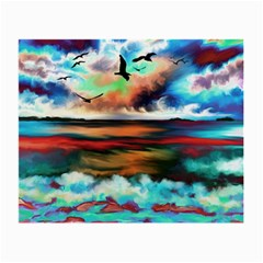 Ocean Waves Birds Colorful Sea Small Glasses Cloth