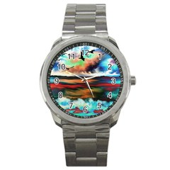 Ocean Waves Birds Colorful Sea Sport Metal Watch