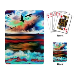 Ocean Waves Birds Colorful Sea Playing Card