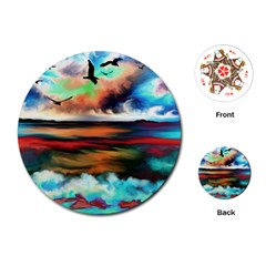 Ocean Waves Birds Colorful Sea Playing Cards (Round)