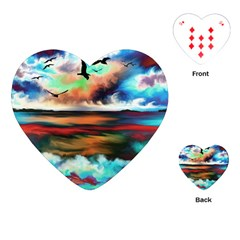 Ocean Waves Birds Colorful Sea Playing Cards (heart)