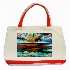 Ocean Waves Birds Colorful Sea Classic Tote Bag (red)