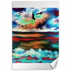 Ocean Waves Birds Colorful Sea Canvas 12  X 18