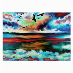Ocean Waves Birds Colorful Sea Large Glasses Cloth (2 Side)