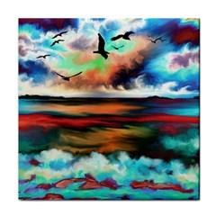 Ocean Waves Birds Colorful Sea Face Towel