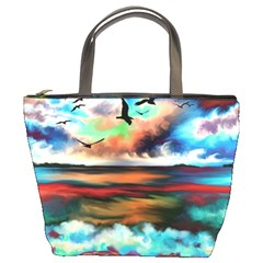 Ocean Waves Birds Colorful Sea Bucket Bags