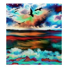 Ocean Waves Birds Colorful Sea Shower Curtain 66  X 72  (large)