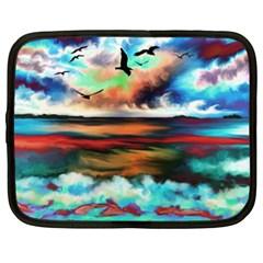 Ocean Waves Birds Colorful Sea Netbook Case (xxl)