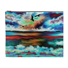 Ocean Waves Birds Colorful Sea Cosmetic Bag (xl)