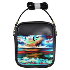 Ocean Waves Birds Colorful Sea Girls Sling Bags