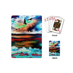 Ocean Waves Birds Colorful Sea Playing Cards (mini)