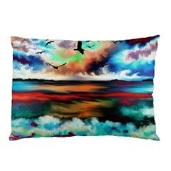 Ocean Waves Birds Colorful Sea Pillow Case (two Sides)