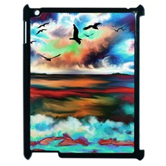 Ocean Waves Birds Colorful Sea Apple Ipad 2 Case (black)