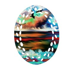 Ocean Waves Birds Colorful Sea Oval Filigree Ornament (two Sides)