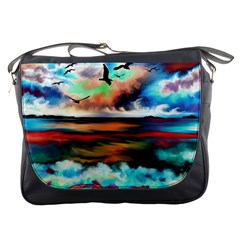 Ocean Waves Birds Colorful Sea Messenger Bags