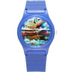Ocean Waves Birds Colorful Sea Round Plastic Sport Watch (s)