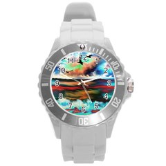 Ocean Waves Birds Colorful Sea Round Plastic Sport Watch (l)