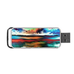 Ocean Waves Birds Colorful Sea Portable Usb Flash (one Side)