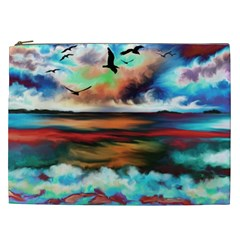 Ocean Waves Birds Colorful Sea Cosmetic Bag (xxl)