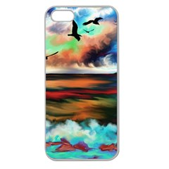 Ocean Waves Birds Colorful Sea Apple Seamless Iphone 5 Case (clear)