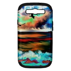Ocean Waves Birds Colorful Sea Samsung Galaxy S Iii Hardshell Case (pc+silicone)