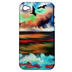 Ocean Waves Birds Colorful Sea Apple Iphone 4/4s Hardshell Case (pc+silicone)