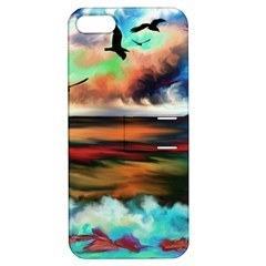 Ocean Waves Birds Colorful Sea Apple Iphone 5 Hardshell Case With Stand