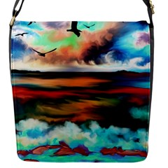 Ocean Waves Birds Colorful Sea Flap Messenger Bag (s)