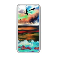 Ocean Waves Birds Colorful Sea Apple Iphone 5c Seamless Case (white)