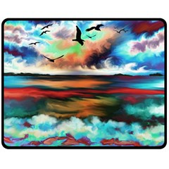 Ocean Waves Birds Colorful Sea Double Sided Fleece Blanket (medium)