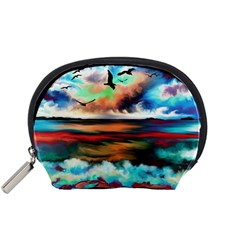 Ocean Waves Birds Colorful Sea Accessory Pouches (small)
