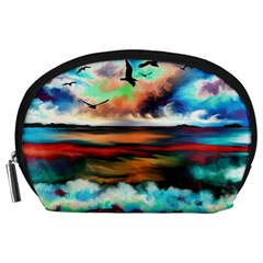 Ocean Waves Birds Colorful Sea Accessory Pouches (large)