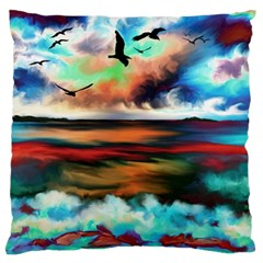 Ocean Waves Birds Colorful Sea Large Flano Cushion Case (two Sides)