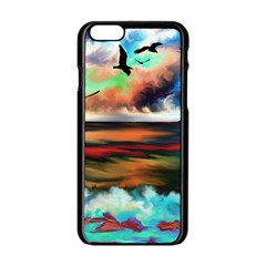 Ocean Waves Birds Colorful Sea Apple Iphone 6/6s Black Enamel Case