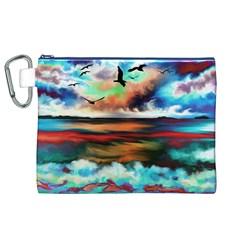 Ocean Waves Birds Colorful Sea Canvas Cosmetic Bag (xl)