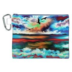 Ocean Waves Birds Colorful Sea Canvas Cosmetic Bag (xxl)