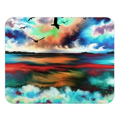 Ocean Waves Birds Colorful Sea Double Sided Flano Blanket (large)