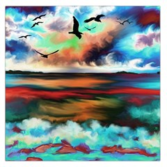 Ocean Waves Birds Colorful Sea Large Satin Scarf (square)
