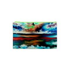 Ocean Waves Birds Colorful Sea Cosmetic Bag (xs)
