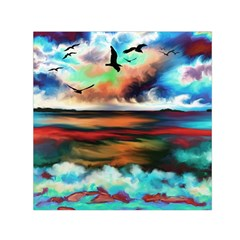 Ocean Waves Birds Colorful Sea Small Satin Scarf (square)