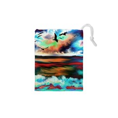Ocean Waves Birds Colorful Sea Drawstring Pouches (xs)