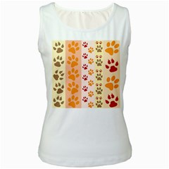 Paw Print Paw Prints Fun Background Women s White Tank Top