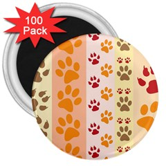 Paw Print Paw Prints Fun Background 3  Magnets (100 Pack)