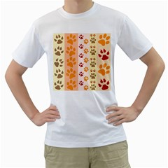 Paw Print Paw Prints Fun Background Men s T Shirt (white) (two Sided)