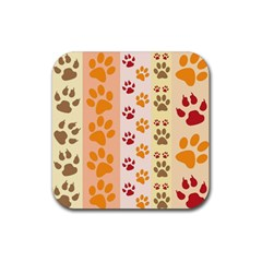 Paw Print Paw Prints Fun Background Rubber Coaster (square)