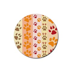Paw Print Paw Prints Fun Background Rubber Round Coaster (4 Pack)