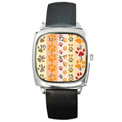 Paw Print Paw Prints Fun Background Square Metal Watch