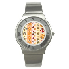 Paw Print Paw Prints Fun Background Stainless Steel Watch