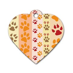 Paw Print Paw Prints Fun Background Dog Tag Heart (one Side)